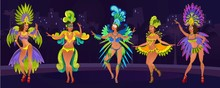 Carnival Design Concept With Dancing Women.Festive Background For Carnaval Event In Brazil. Festive Poster With Carnival Dancers In Costumes. Vector Illustration
