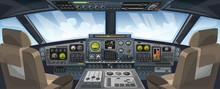 Airplane Cockpit View With Control Panel Buttons And Sky Background On Window View. Airplane Pilots Cabin With Dashboard Control And Pilots Chair For Games Design. Airplane Vector Illustration