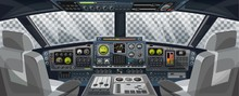 Airplane Cockpit View With Control Panel Buttons And Transparent Background On Window View. Airplane Pilots Cabin With Dashboard Control And Pilots Chair For Games Design. Airplane Vector Illustration