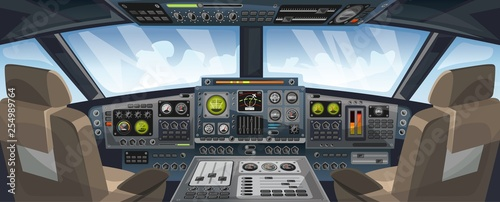 Valokuva  Airplane cockpit view with control panel buttons and sky background on window view