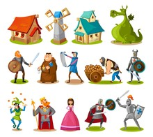Medieval Characters And Buildings Collection. Cartoon Knights, Princess, King, Dragon, Buildings Etc. Vector Fairy Tale Objects.