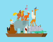 Noah Ark And Animals. Pairs Of Beasts. Rescue From Flood. Big Ancient Ship From Bible. Biblical Boat