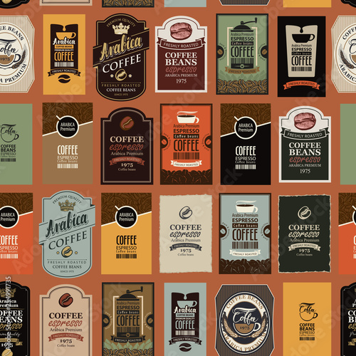Fototapeten Künstlich Vector seamless pattern on coffee and coffee house theme with various labels in retro style. Can be used as wallpaper or wrapping paper