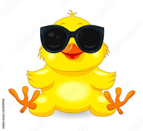 Photo Little yellow chick in black glasses
