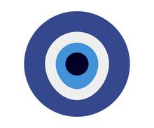 Nazar Evil Eye Or Boncuk Isolated Vector Illustration. Nazar Glass Eye Bead Amulet.