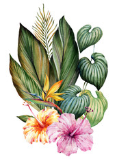 Panel Szklany 3D A bouquet of tropical plants. Watercolor.