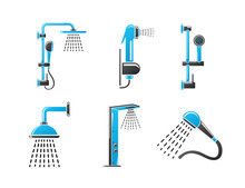 Vector Icons. Bath Shower Set