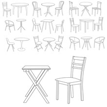 Table And Chair Set Of Sketches