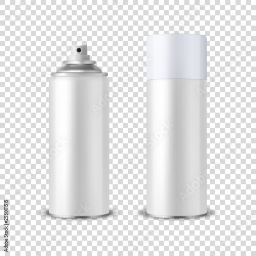 Vector 3d Realistic White Blank Spray Can, Spray Bottle with Cap Closeup Isolated on Transparent Background Wallpaper Mural
