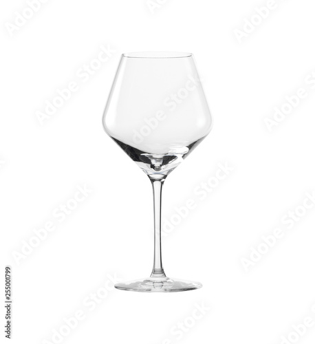 Foto op Canvas Alcohol Empty classic glass wine isolated on white background. Side view.