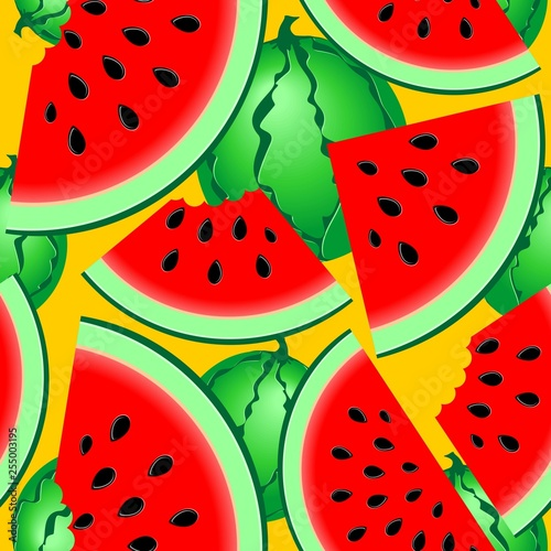 Spoed Foto op Canvas Draw Watermelons Fresh Summer Fruits Seamless Pattern Vector Textile Pattern