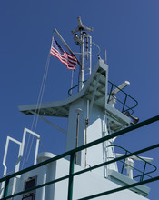 American Flag On Ship Mast Ope...