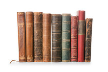 Old Books Isolated On White With Clipping Path