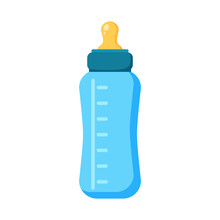 Feeding Baby Bottle Icon. Flat Illustration Of Bottle Vector Icon