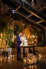 Fototapeta na wymiar young beautiful wedding couple cuts the wedding cake and have fun