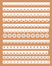 Mega Set  Of Scallop Lace Borders. Vector Illustration In Vintage Style