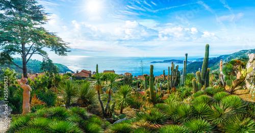 Foto op Aluminium Tuin Amazing landscape on Mediterranean coastline, view on the top of Eze village at french Riviera coast, Cote d'Azur, France