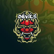 Devil Vector Mascot Logo Desig...