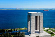Canakkale Martyrs Monument And Gallipoli Peninsula / Shot By A Drone From Air