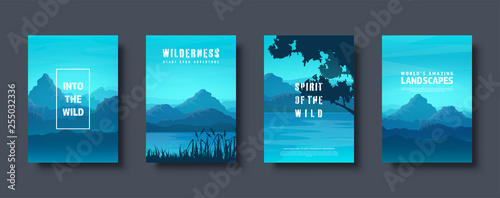 Poster Turquoise Mountains and forest. Wild nature landscape. Travel and adventure.Panorama. Into the woods. Horizon line.Trees,fog. Vector illustration.