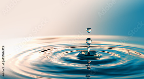 Fotografía Clear Water drop with circular waves