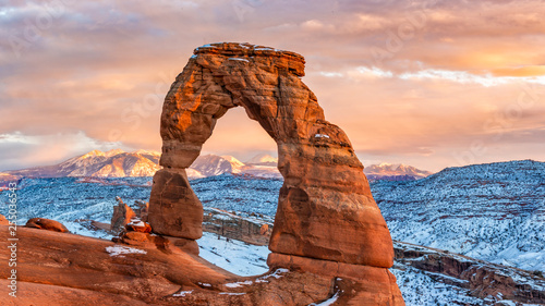 Delicate Arch WInter Sunset Wallpaper Mural