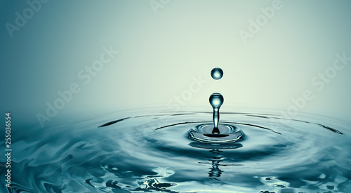 Fototapety, obrazy: Clear Water drop with circular waves