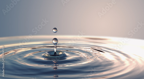 Foto auf Leinwand Wasserfalle Clear Water drop with circular waves