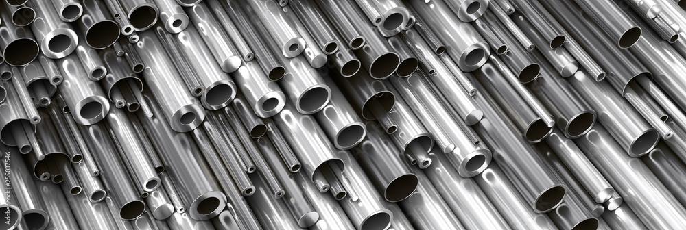 Fototapeta Close-up set of different diameters metal round tubes, pipes, gun barrels  and kernels. Industrial 3d illustration