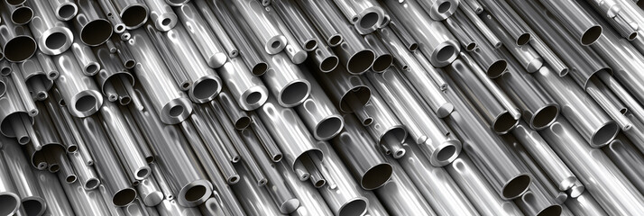 Close-up set of different diameters metal round tubes, pipes, gun barrels  an...