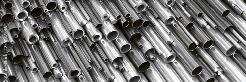 Poster Metal Close-up set of different diameters metal round tubes, pipes, gun barrels and kernels. Industrial 3d illustration