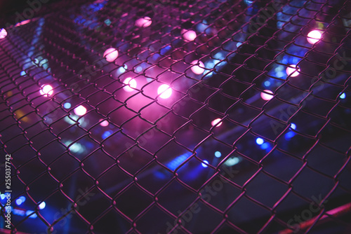 Closeup of a octagon cage fence