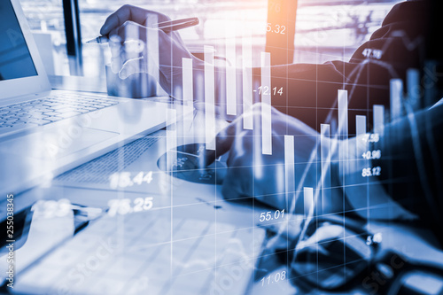 Fotografiet  Stock market or forex trading graph and candlestick chart suitable for financial investment concept