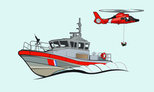 Coastguard Response Boat And Helicopter