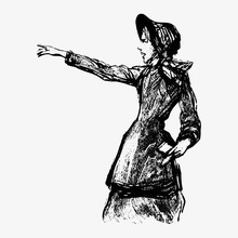 Woman Pointing Vintage Drawing