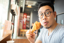 Funny Face Of Man Eat Fried Ch...
