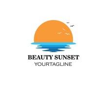 Wave Sun Seagull Vector Illustration