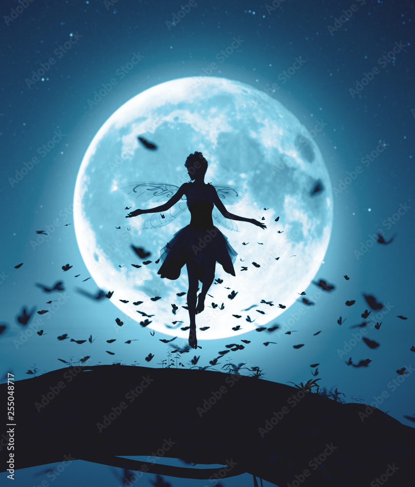 Fototapety, obrazy: 3d rendering of a fairy flying in a magical night surrounded by flock butterflies in moonlight