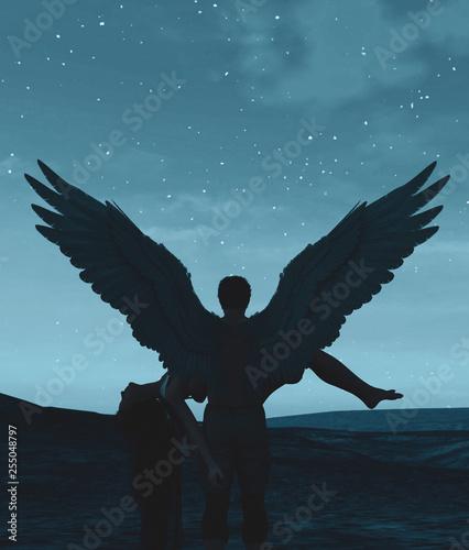 Fotografiet  Till death do us part,3d illustration of an Angels in heaven land,Mixed media fo