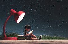 The Boy Reading A Book In Star...