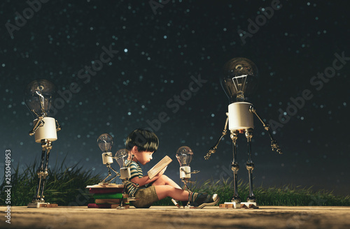 Fotografie, Obraz  Light bulb robot giving a light to the boy who reading a book in starry night co