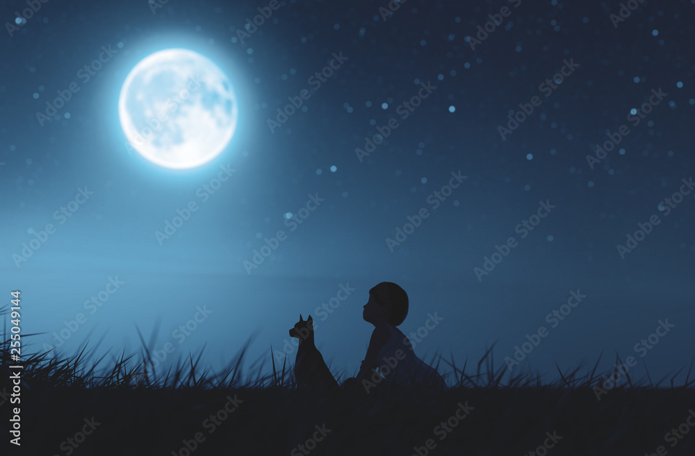 Fototapety, obrazy: Girl with her dog sitting on grass field looking to the moon,3d rendering