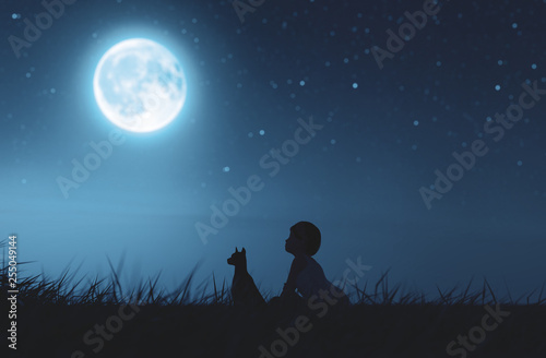 Photographie  Girl with her dog sitting on grass field looking to the moon,3d rendering