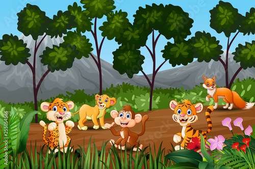 Group of wild animals gathering on the fringe of forest