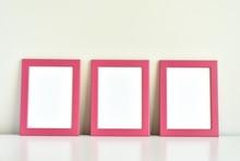 Three Pink Frames On White Tab...
