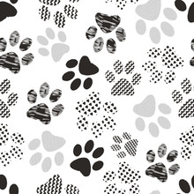 Illustration Of Cats' And Dogs' Paw Prints With Geometric Patterns. Perfect For Gifts, Background, Fabric And Scrapbooking.