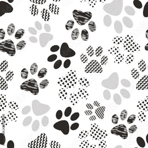 Photo  Illustration of cats' and dogs' paw prints with geometric patterns