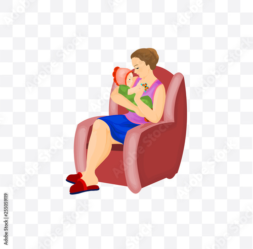 Fotografie, Obraz  Child with mother on armchair