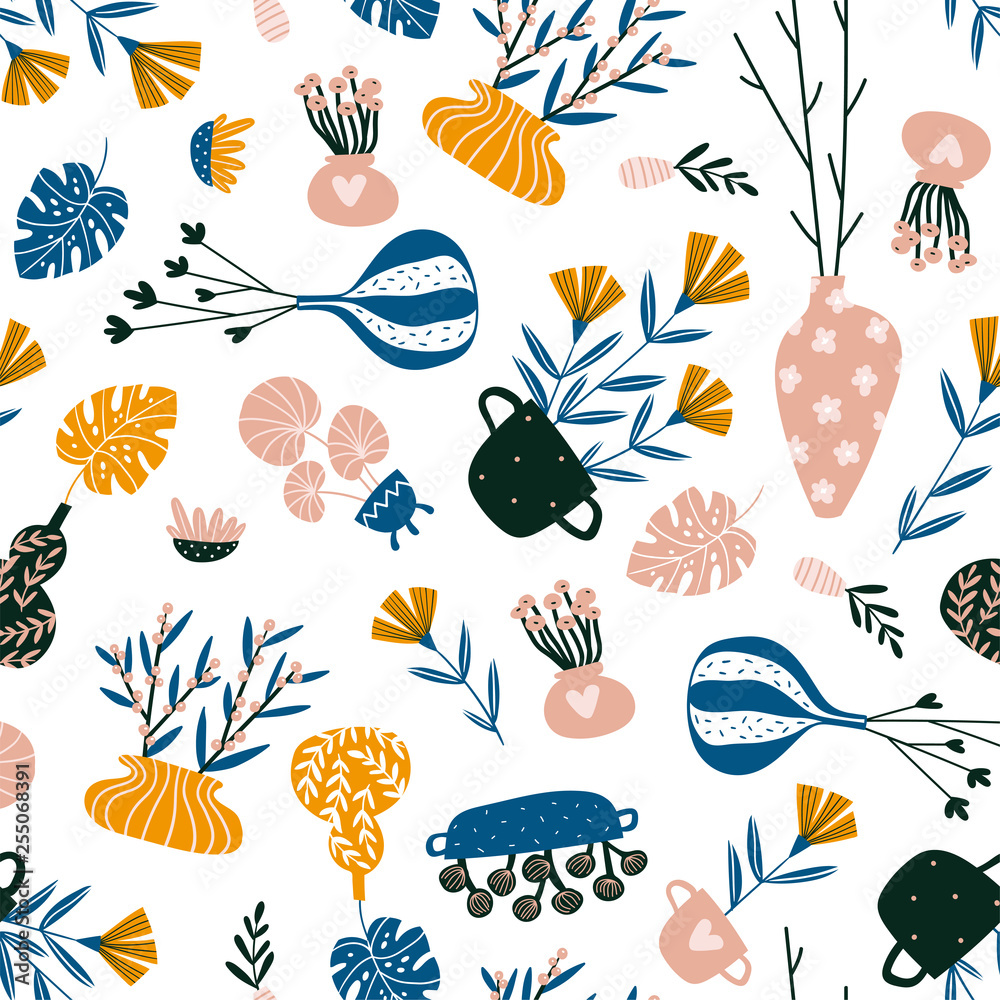 Isolated home decor elements in hand drawn style. Vector scandinavian interior design . Seamless pattern with potted flowers, vases and branches.