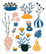 Isolated Home Decor Elements In Hand Drawn Style. Vector Scandinavian Interior Design . Illustration Of Potted Flowers And Vases With Branches.